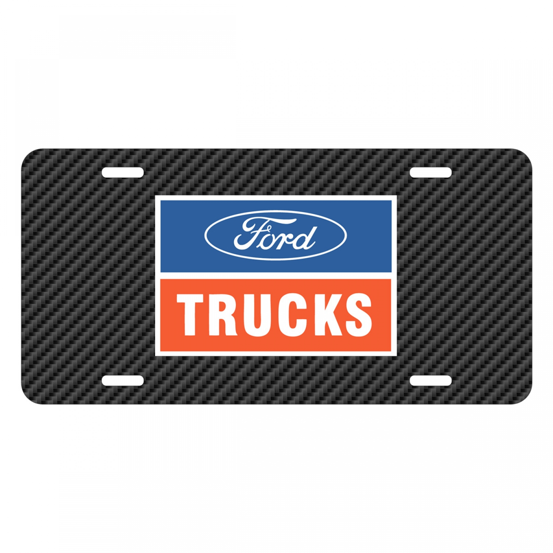 Ford Trucks Black Carbon Fiber Texture Graphic UV Metal License Plate