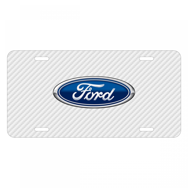 Ford Logo White Carbon Fiber Texture Graphic UV Metal License Plate