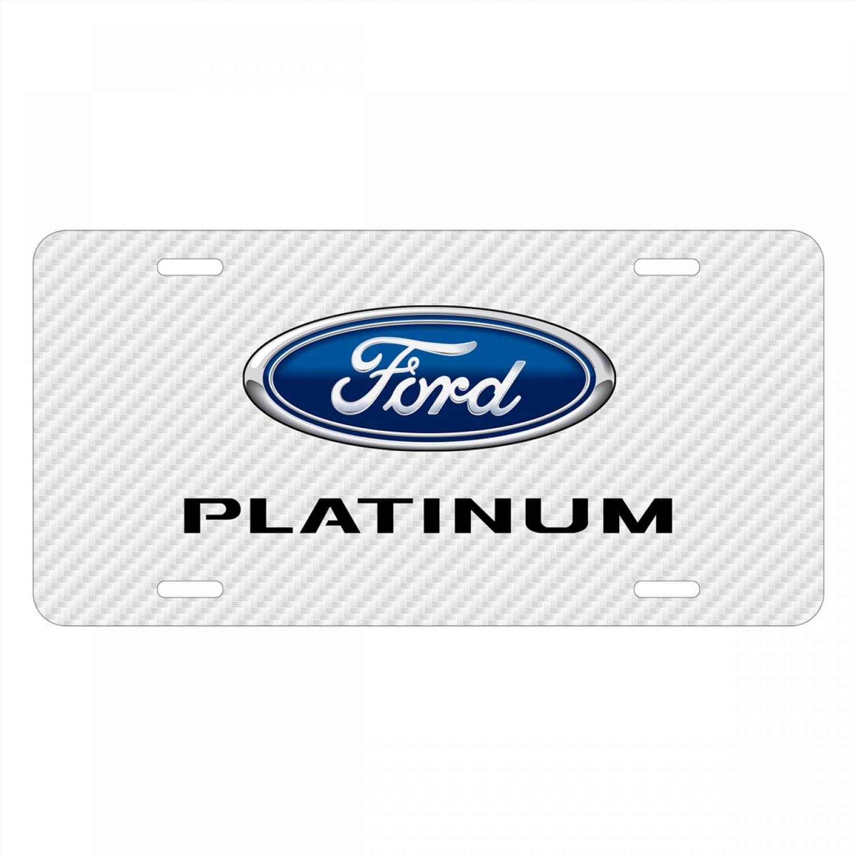 Ford F-150 Platinum White Carbon Fiber Texture Graphic UV Metal License Plate