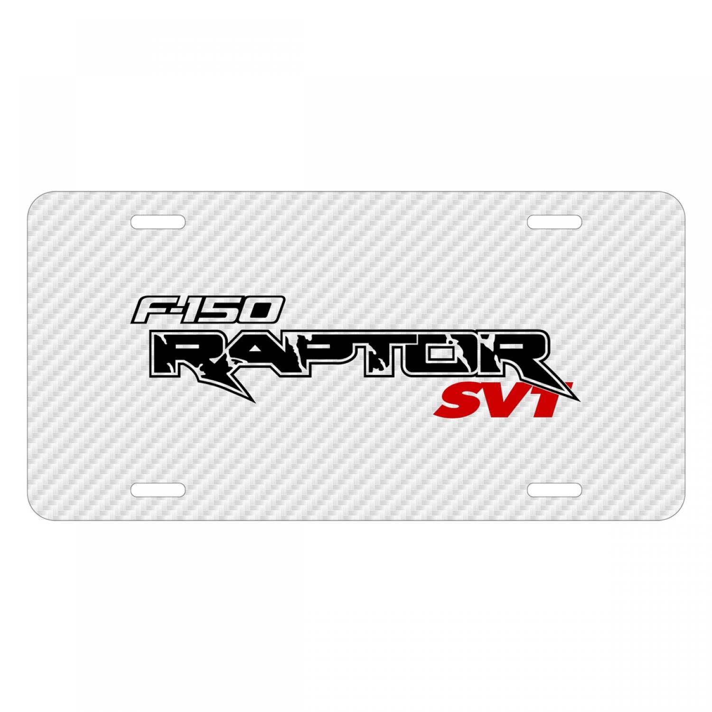 Ford F-150 Raptor SVT 2010 to 2014 White Carbon Fiber Texture Graphic UV Metal License Plate