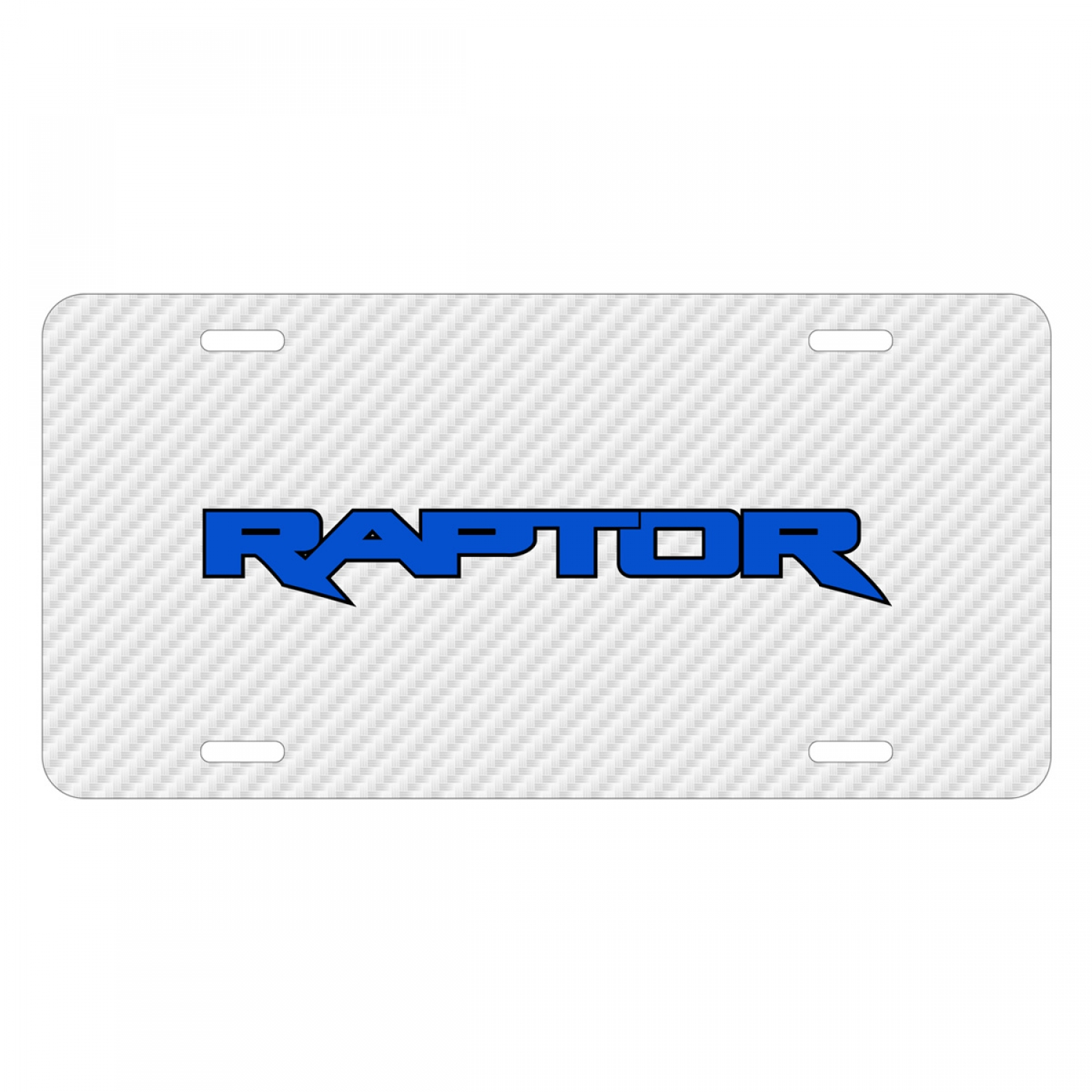 Ford F-150 Raptor 2017 in Blue White Carbon Fiber Texture Graphic UV Metal License Plate