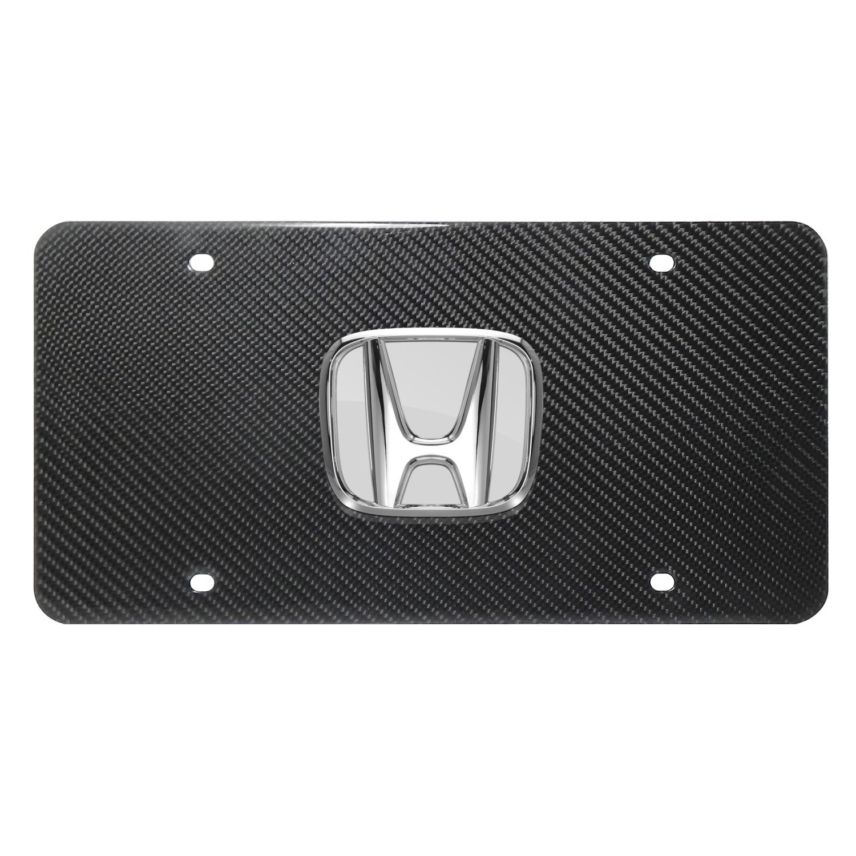 Honda 3D Chrome Logo on 100% Real Carbon Fiber License Plate