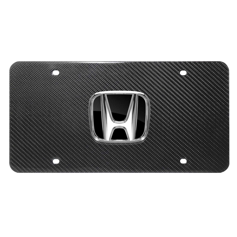 Honda 3D Black Logo on 100% Real Carbon Fiber License Plate