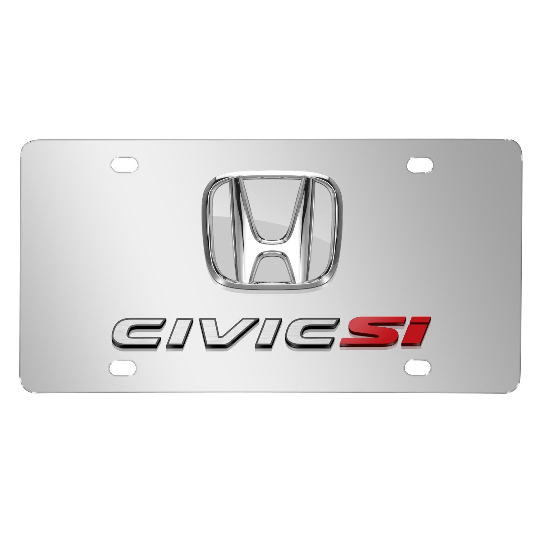 Honda Civic Si 3D Chrome Logo Dual Chrome Stainless Steel License Plate