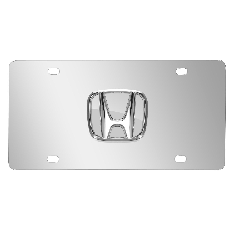 Honda 3D Chrome Logo on Chrome Stainless Steel License Plate