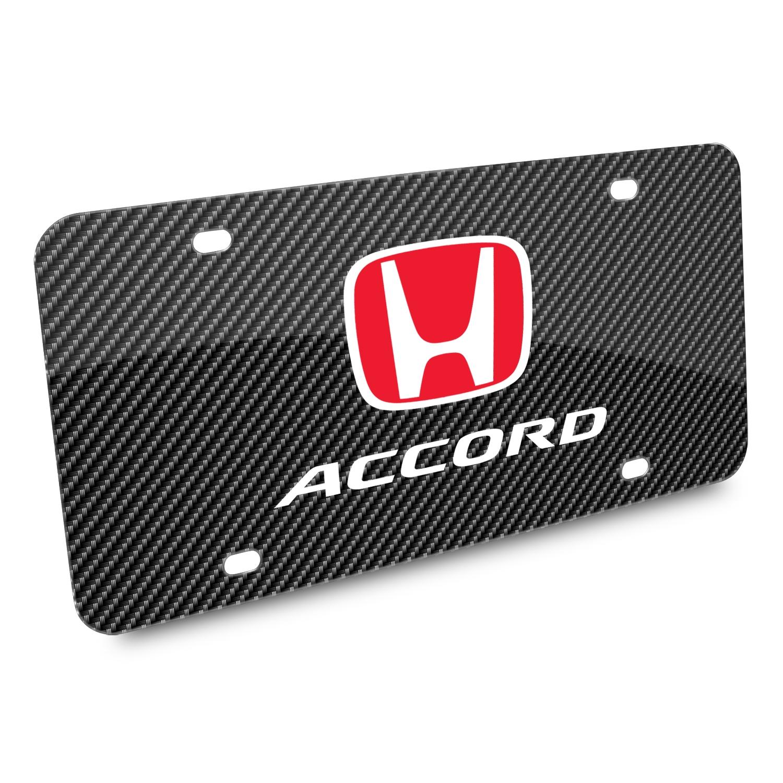 Honda Red Logo Accord Carbon Fiber Look Graphic Metal License Plate