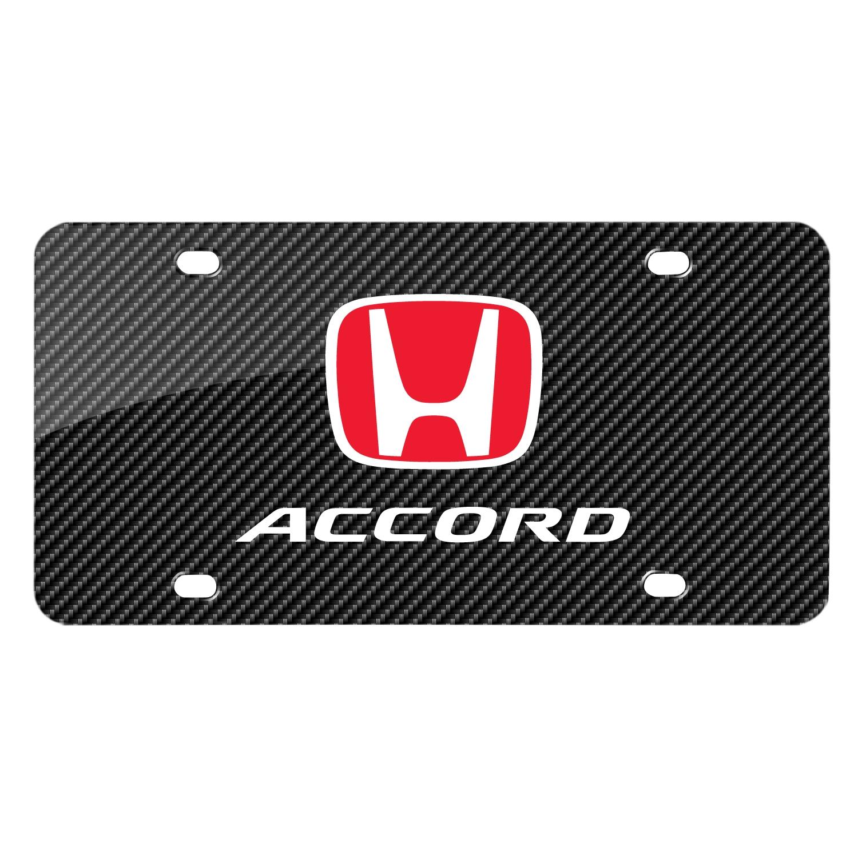Honda Red Logo in Red Carbon Fiber Look Graphic Metal License Plate
