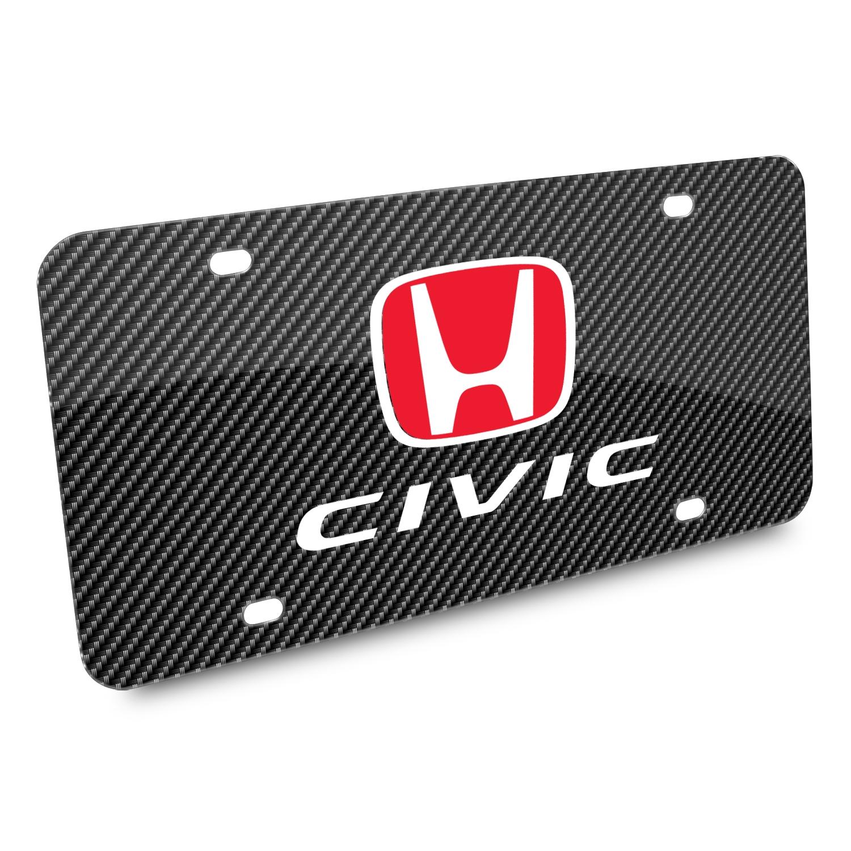 Honda Red Logo Civic Carbon Fiber Look Graphic Metal License Plate