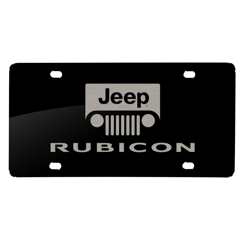 Jeep Rubicon Laser Mark Black Acrylic License Plate