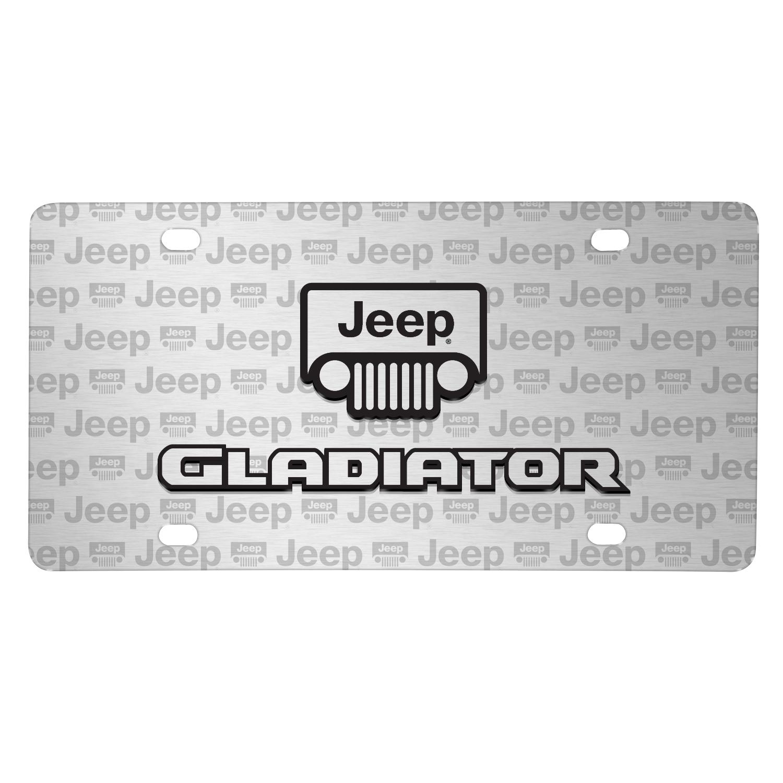 Jeep Gladiator 3D Logo on Logo Pattern Brushed Aluminum License Plate