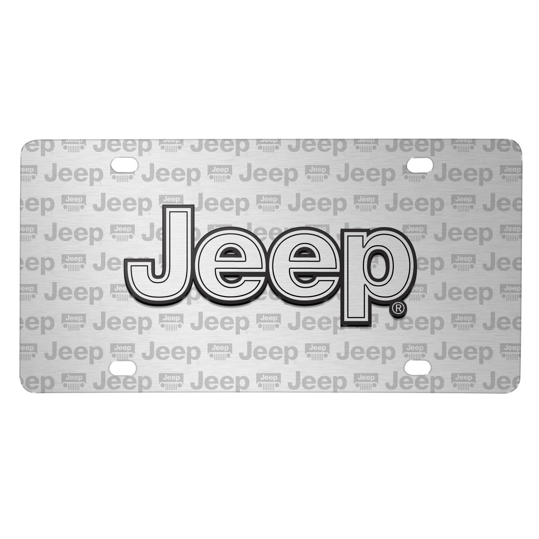 Jeep 3D Logo on Logo Pattern Brushed Aluminum License Plate