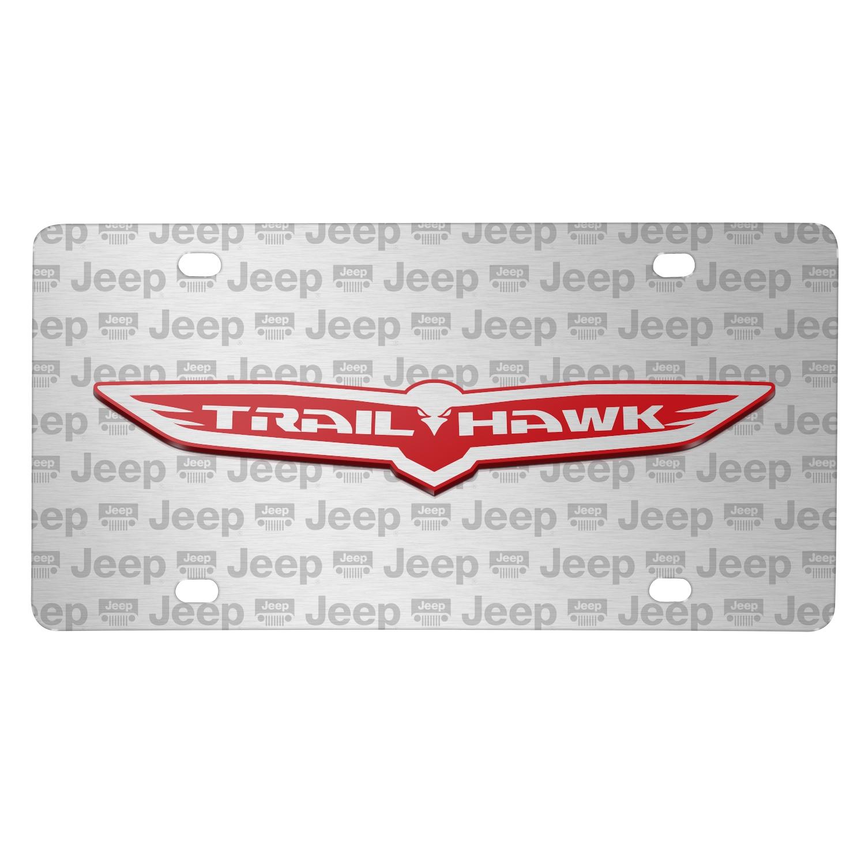 Jeep Trailhawk 3D Logo on Logo Pattern Brushed Aluminum License Plate