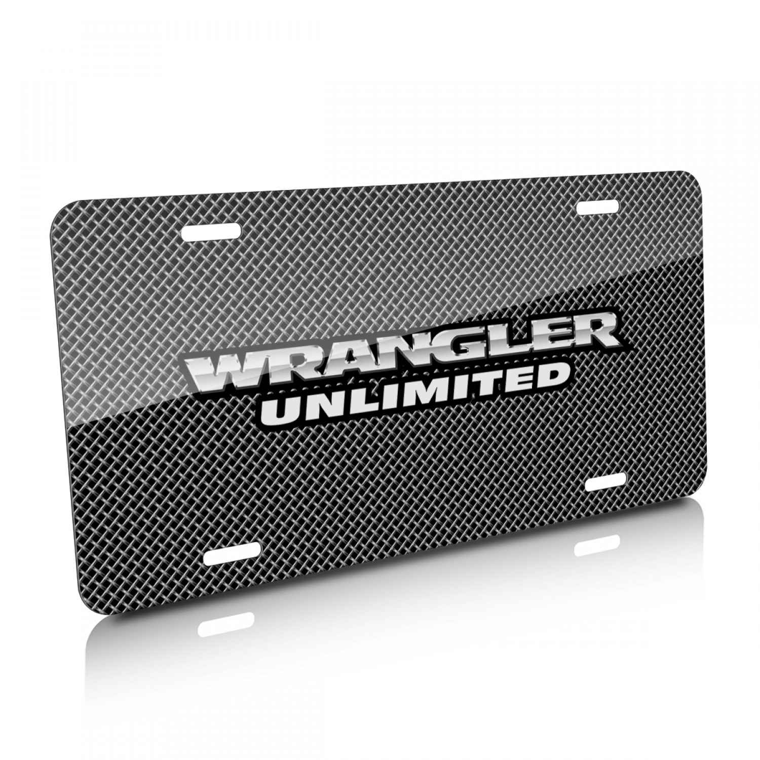 Jeep Wrangler Unlimited Mesh Grill Graphic Aluminum License Plate