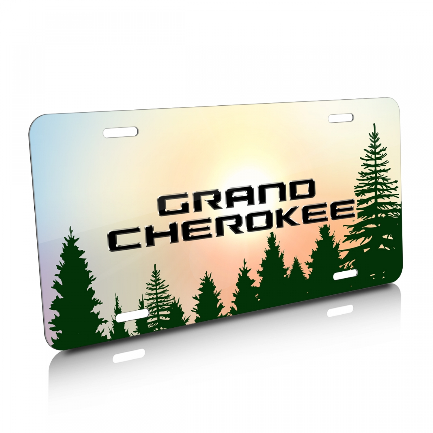 Jeep Grand Cherokee Green Forrest Sillhouette Graphic Aluminum License Plate