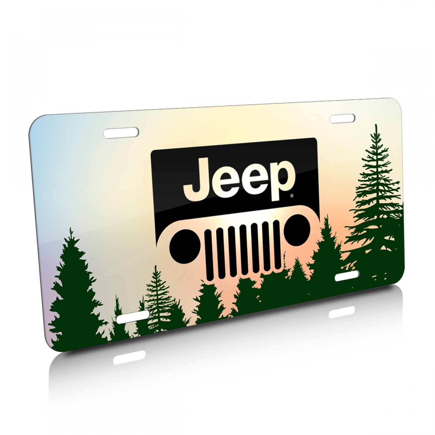 Jeep Grill Logo Green Forrest Sillhouette Graphic Aluminum License Plate