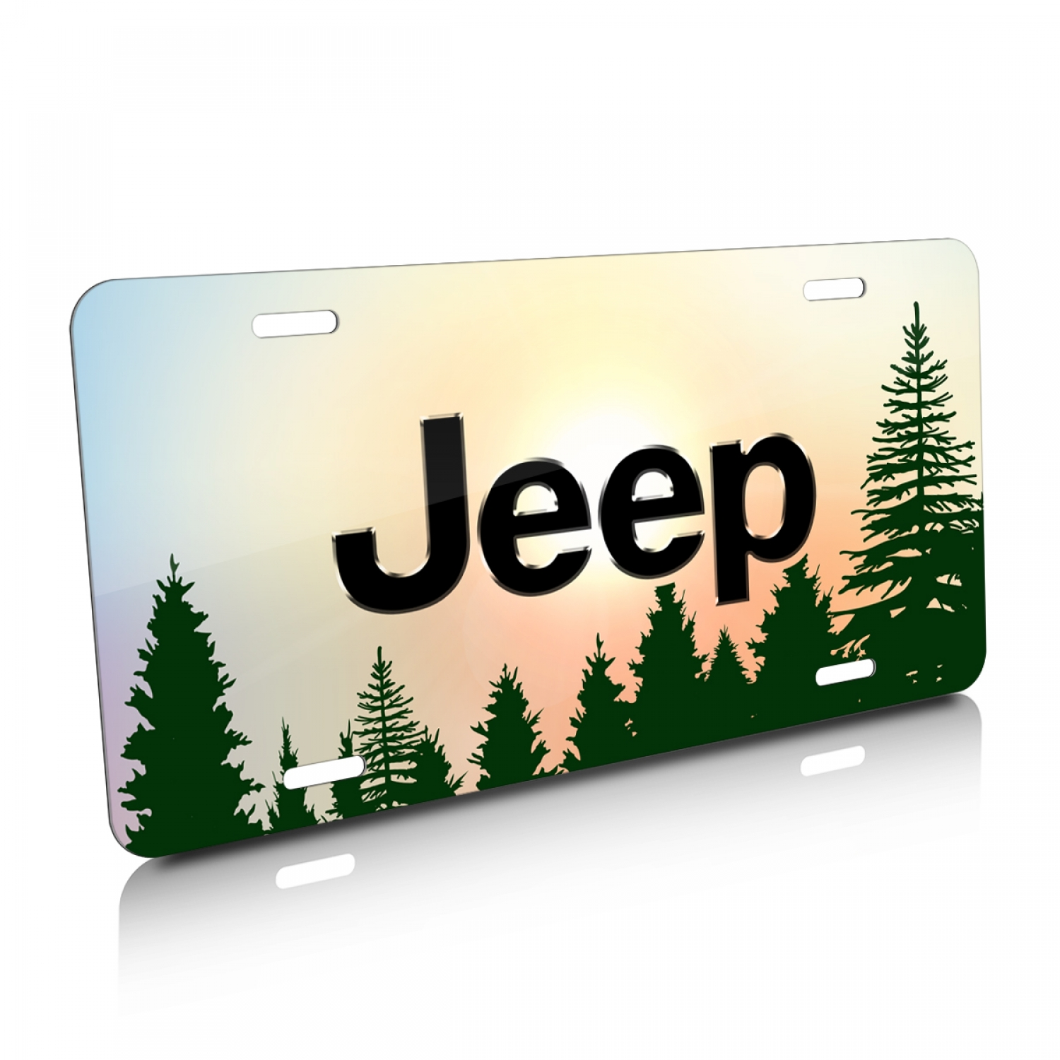 Jeep Green Forrest Sillhouette Graphic Aluminum License Plate