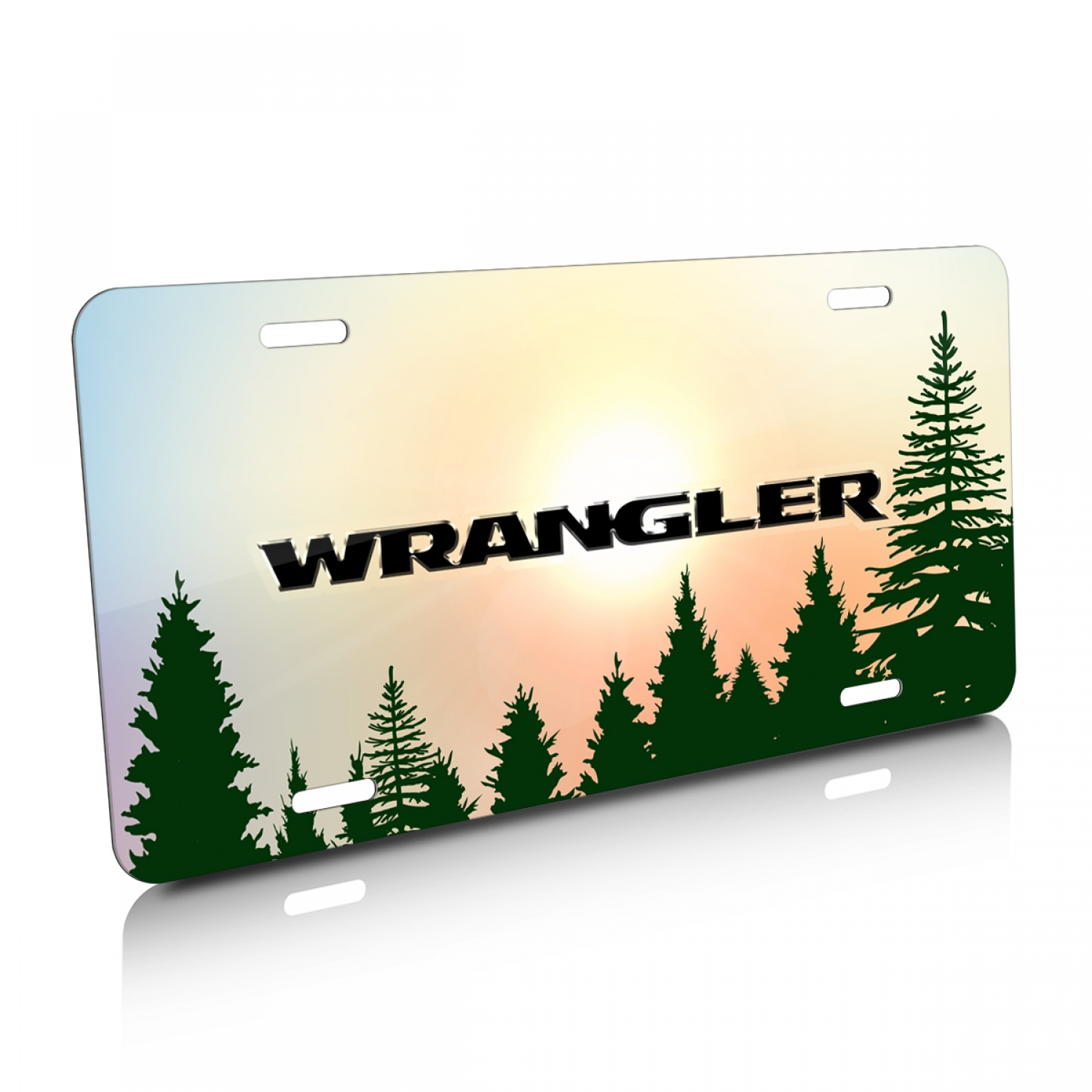 Jeep Wrangler Green Forrest Sillhouette Graphic Aluminum License Plate
