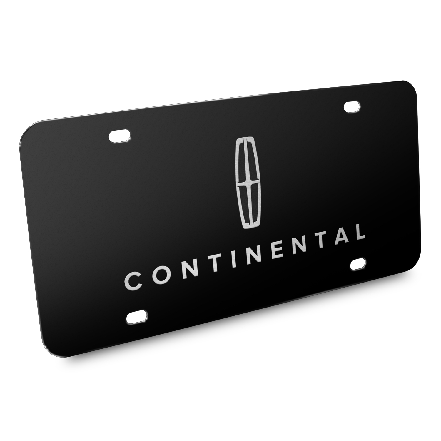 Lincoln Continental 3D Dual Logo Black Stainless Steel License Plate