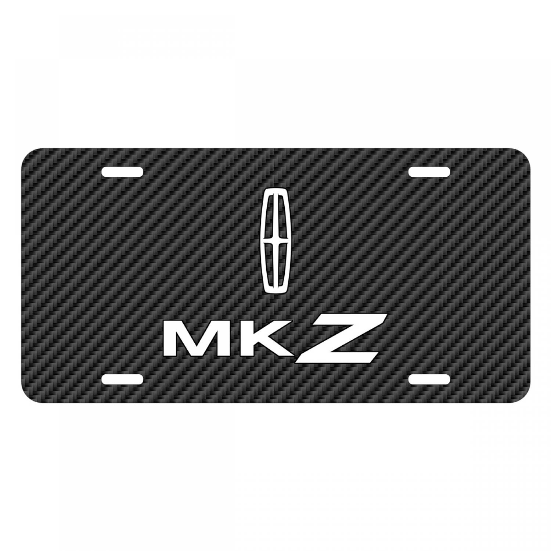 Lincoln MKZ Black Carbon Fiber Texture Graphic UV Metal License Plate
