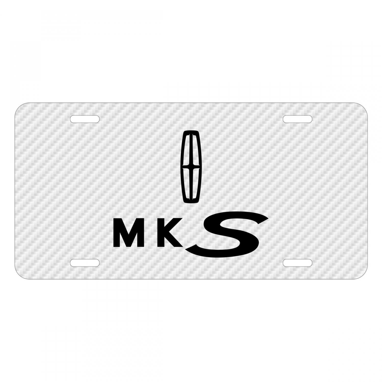 Lincoln MKS White Carbon Fiber Texture Graphic UV Metal License Plate