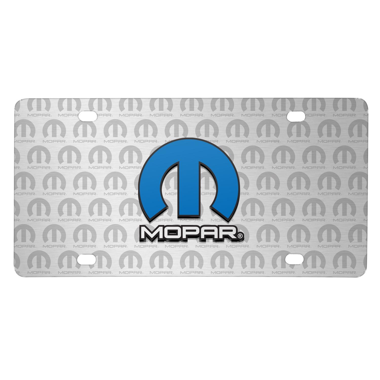 Mopar 3D Logo on Logo Pattern Brushed Aluminum License Plate