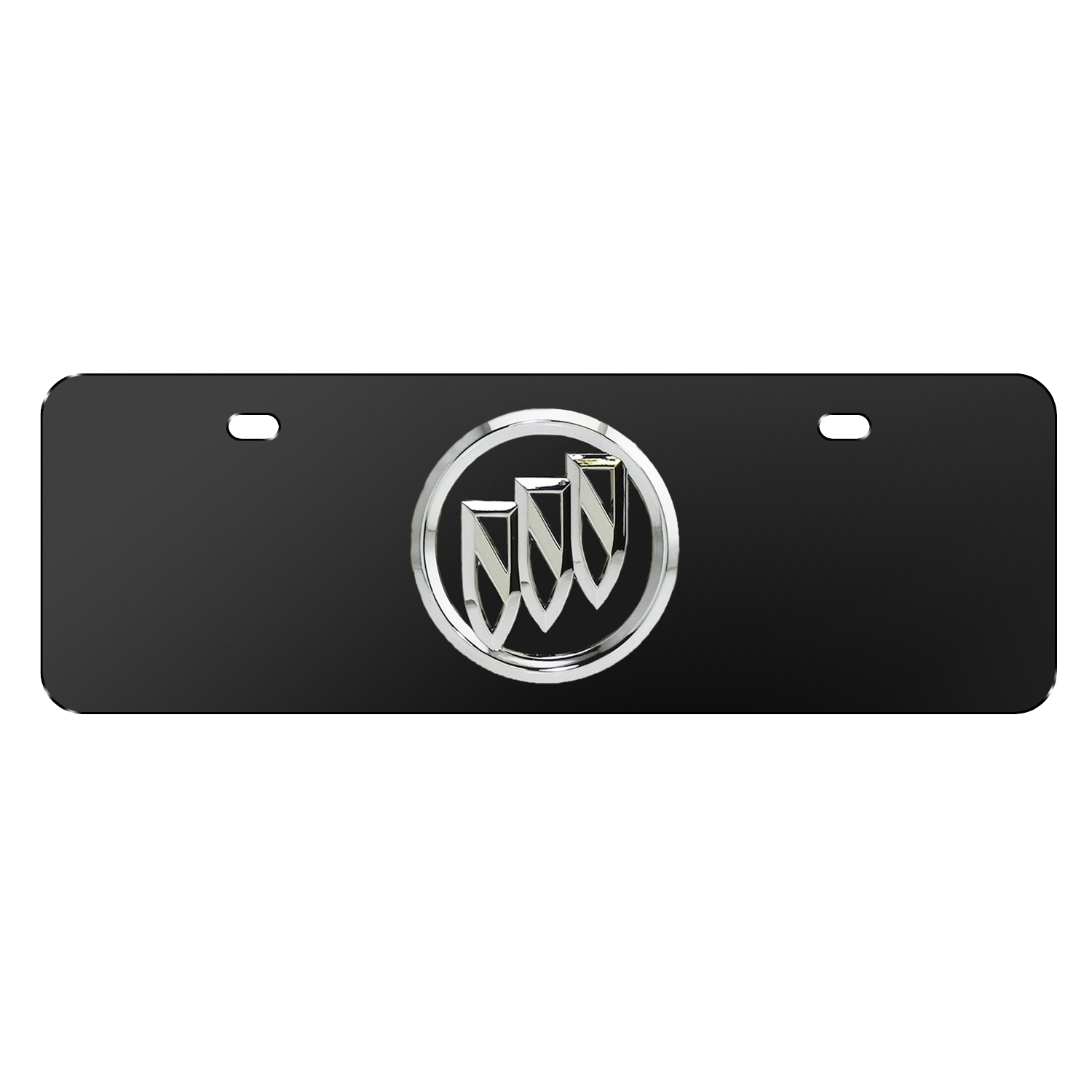 """Buick 3D Chrome Metal Logo Black 12""""x4"""" Half-Size Stainless Steel License Plate"""
