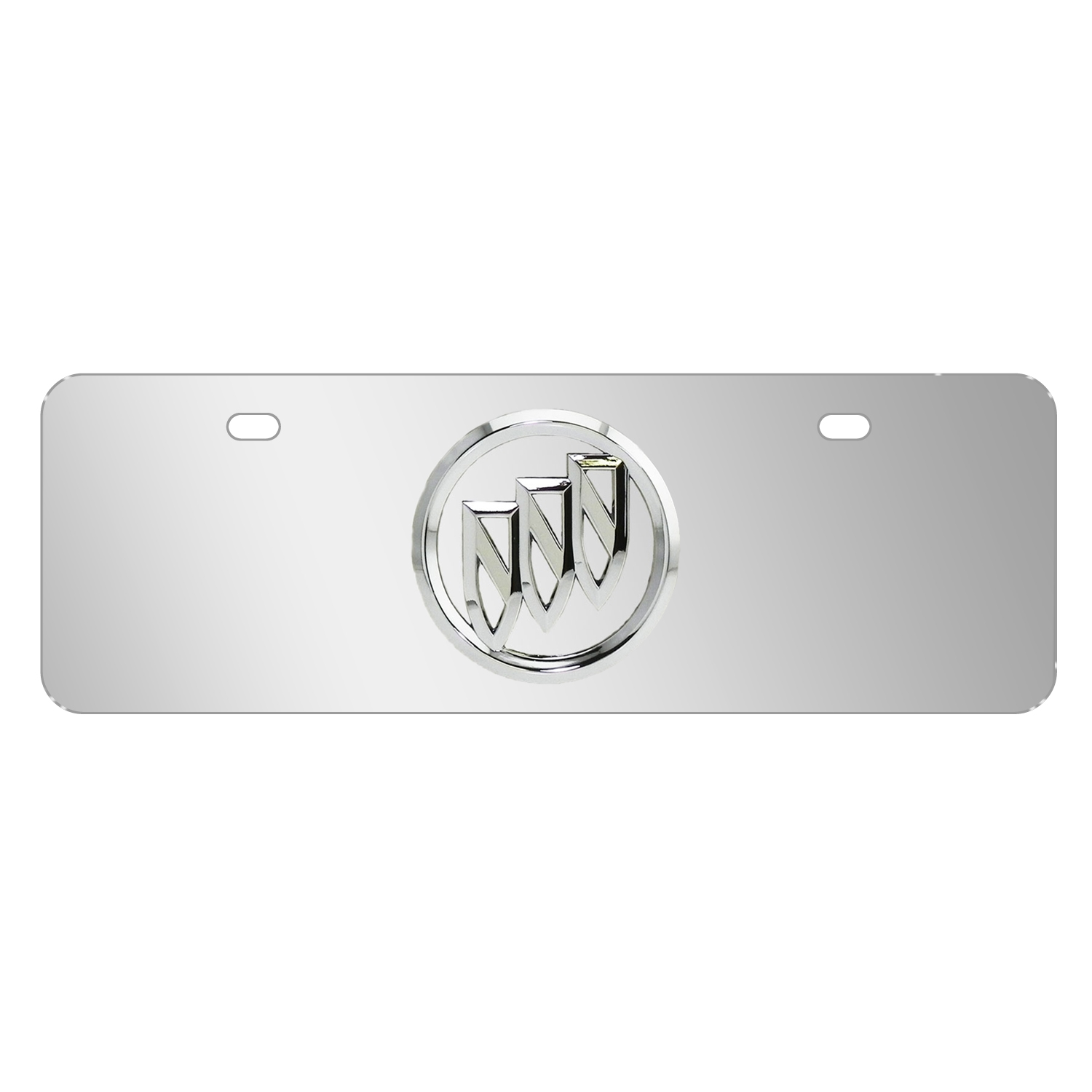 """Buick 3D Chrome Metal Logo Mirror Chrome 12""""x4"""" Half-Size Stainless Steel License Plate"""