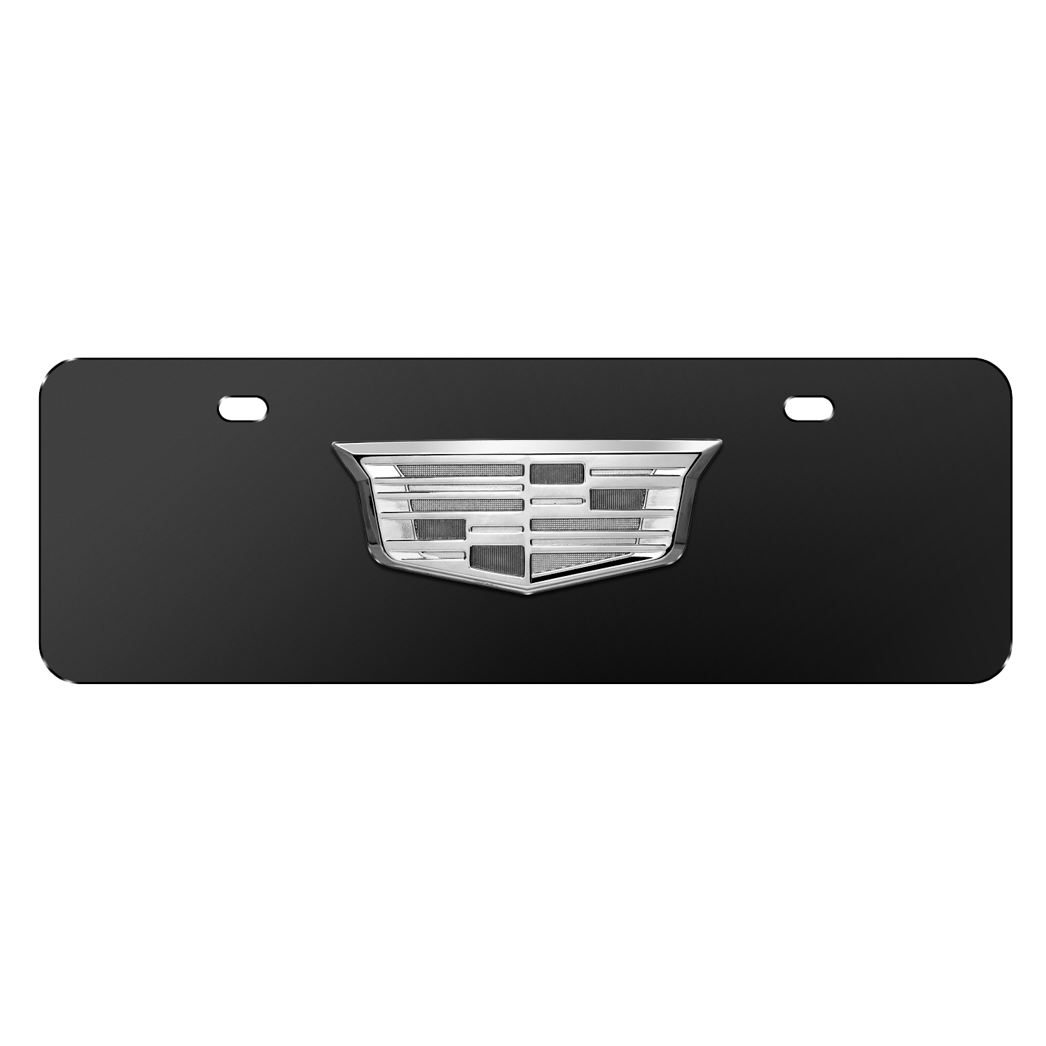 """Cadillac 3D Crest Chrome Metal Logo Black 12""""x4"""" Half-Size Stainless Steel License Plate"""