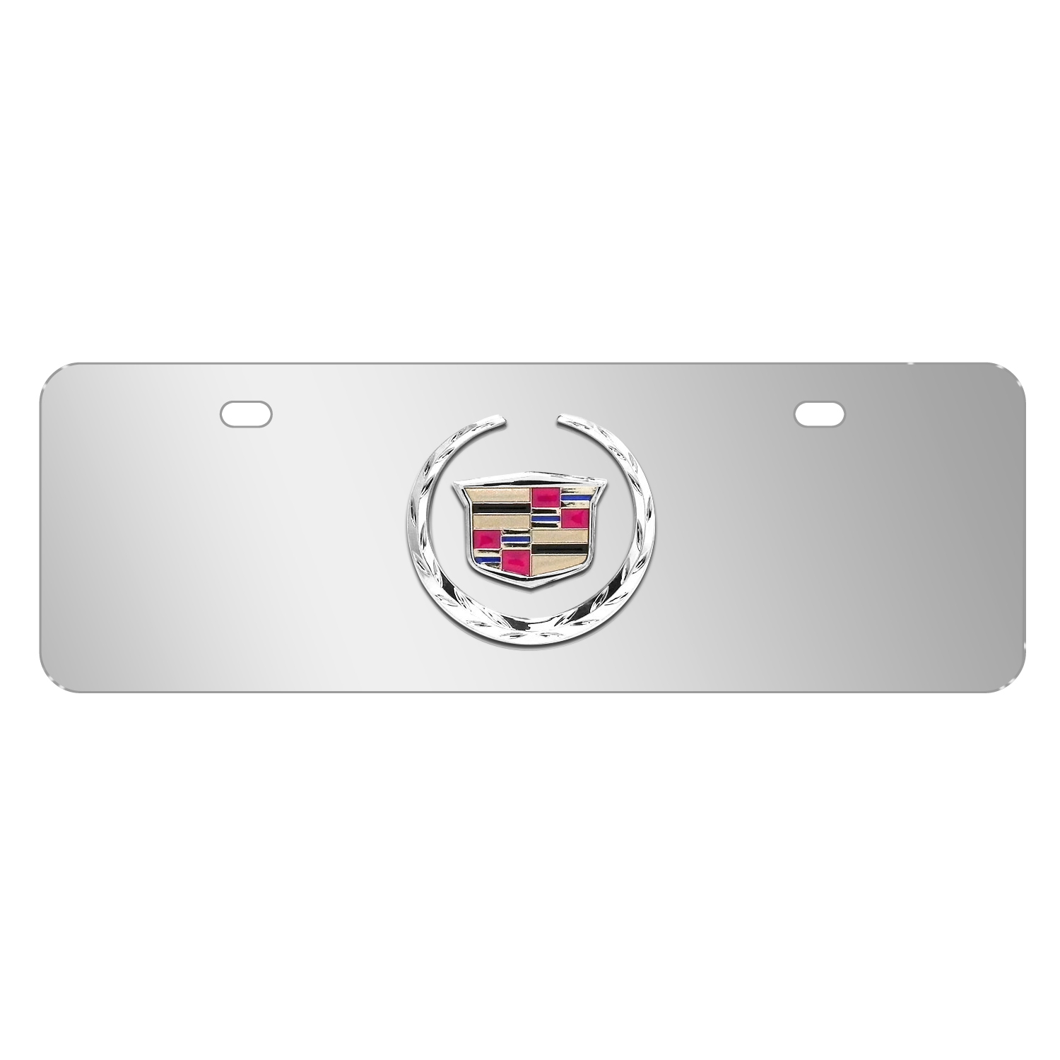 """Cadillac 3D Logo Mirror Chrome 12""""x4"""" Half-Size Stainless Steel License Plate"""
