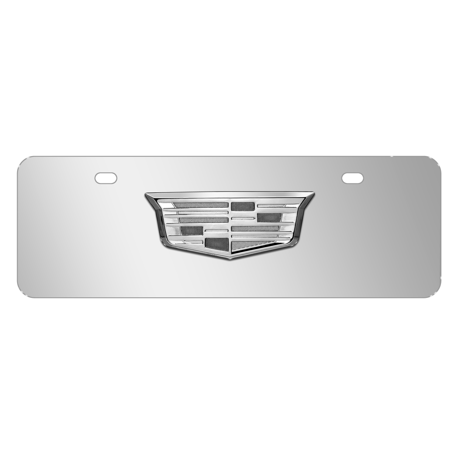 """Cadillac 3D Crest Chrome Metal Logo Mirror Chrome 12""""x4"""" Half-Size Stainless Steel License Plate"""