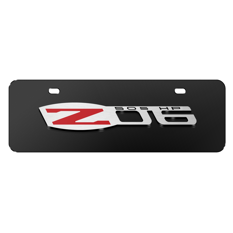 """Chevrolet 2005 Corvette C6 Z06 3D Logo Black 12""""x4"""" Half-Size Stainless Steel License Plate"""