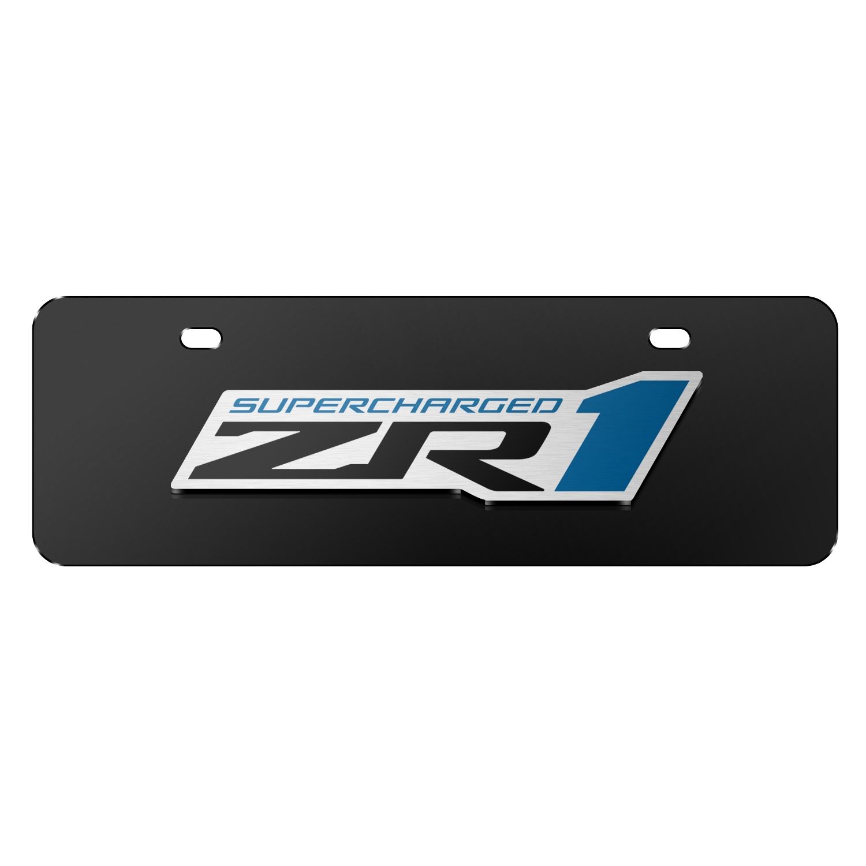 """Chevrolet 2005 Corvette C6 ZR1 3D Logo Black 12""""x4"""" Half-Size Stainless Steel License Plate"""