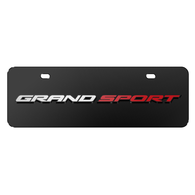 "Chevrolet 2014 Corvette C7 Grand Sport in 3D Black 12""x4"" Half-Size Stainless Steel License Plate"
