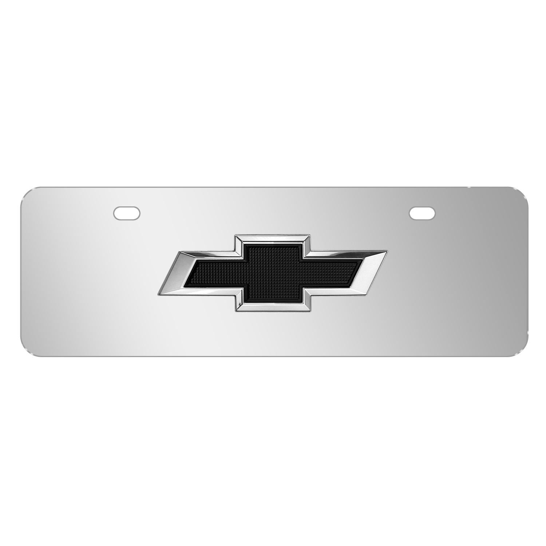 "Chevrolet Black 3D Logo Mirror Chrome 12""x4"" Half-Size Stainless Steel License Plate"