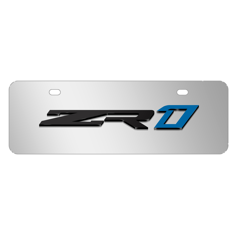 "Chevrolet 2018 Corvette C7 ZR1 3D Logo Mirror Chrome 12""x4"" Half-Size Stainless Steel License Plate"