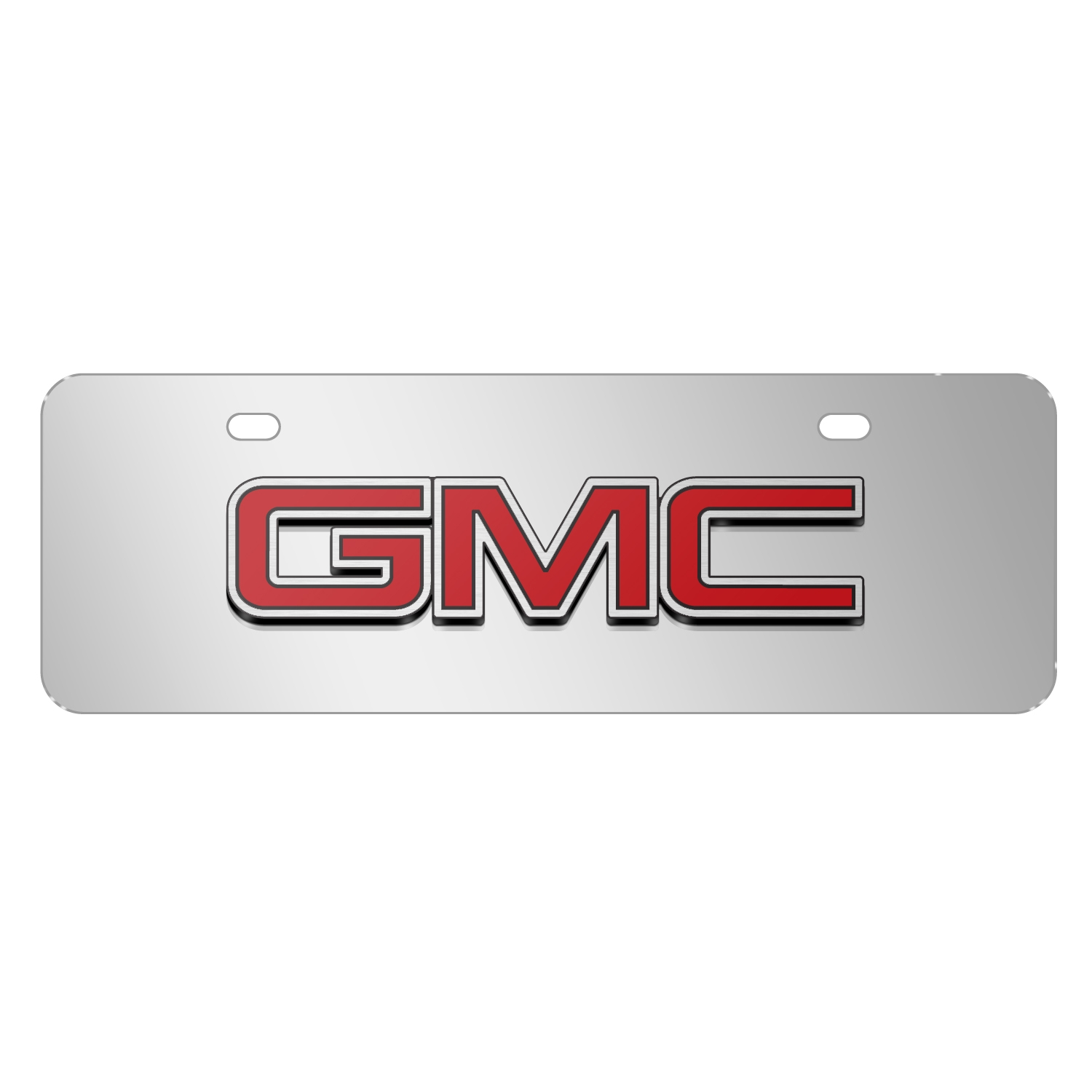 """GMC 3D Inlay Red Logo Mirror Chrome 12""""x4"""" Half-Size Stainless Steel License Plate"""