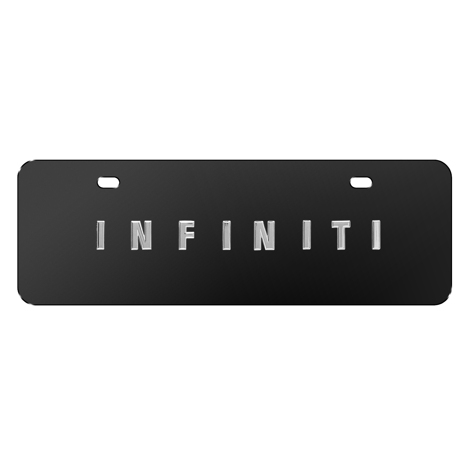 """INFINITI Name Black 12""""x4"""" Half-Size Stainless Steel License Plate"""