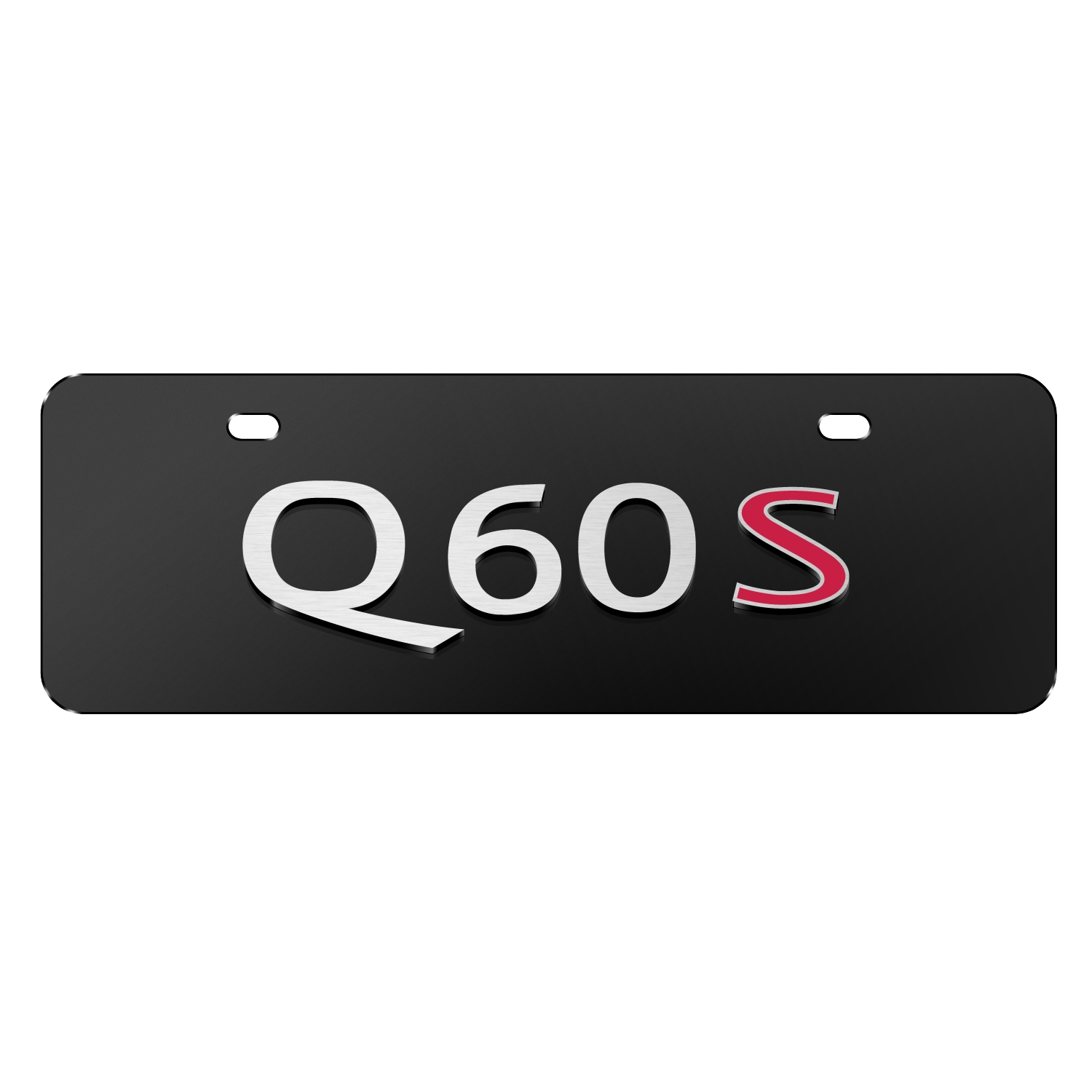 """INFINITI Q60S Name Black 12""""x4"""" Half-Size Stainless Steel License Plate"""