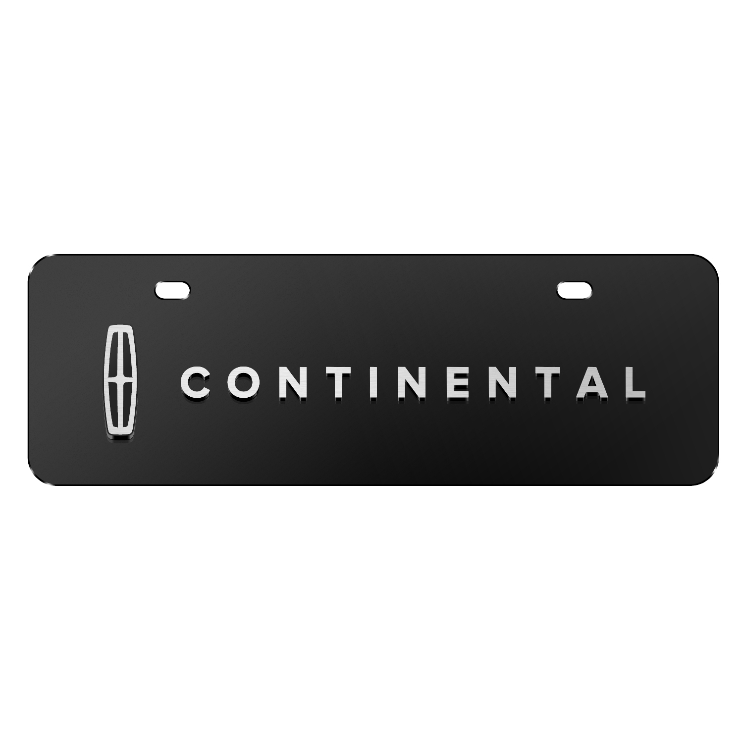 """Lincoln Continental 3D Logo on Black 12""""x4"""" Half-Size Stainless Steel License Plate"""