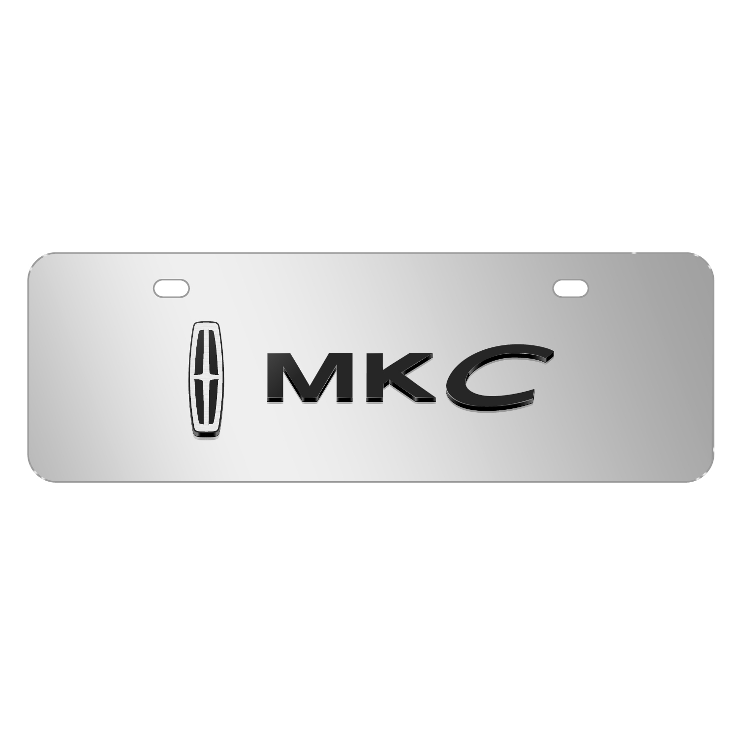 """Lincoln MKC 3D Logo on Chrome 12""""x4"""" Half-Size Stainless Steel License Plate"""