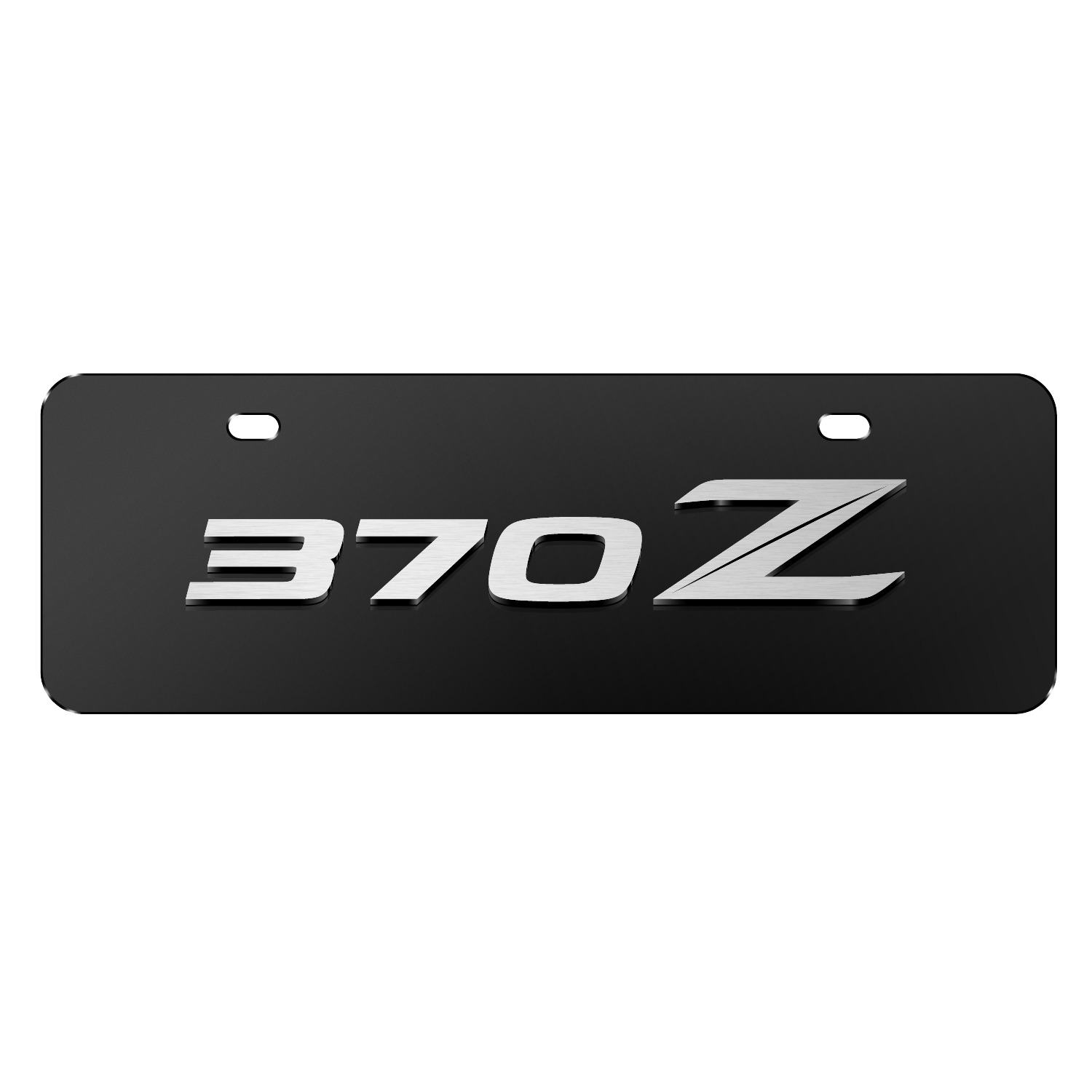 """Nissan 370Z 3D Black 12""""x4"""" Half-Size Stainless Steel License Plate"""