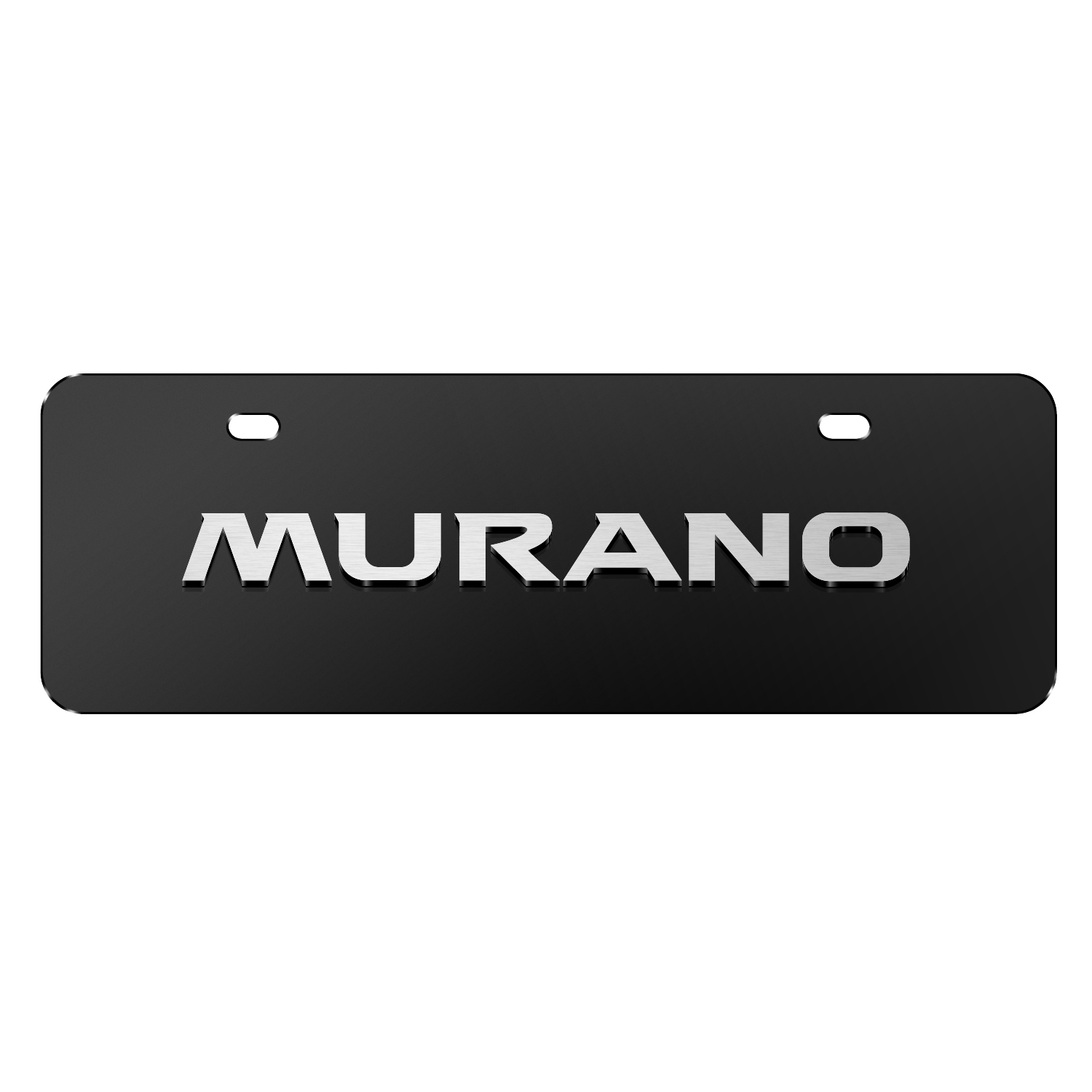 """Nissan Murano 3D Black 12""""x4"""" Half-Size Stainless Steel License Plate"""