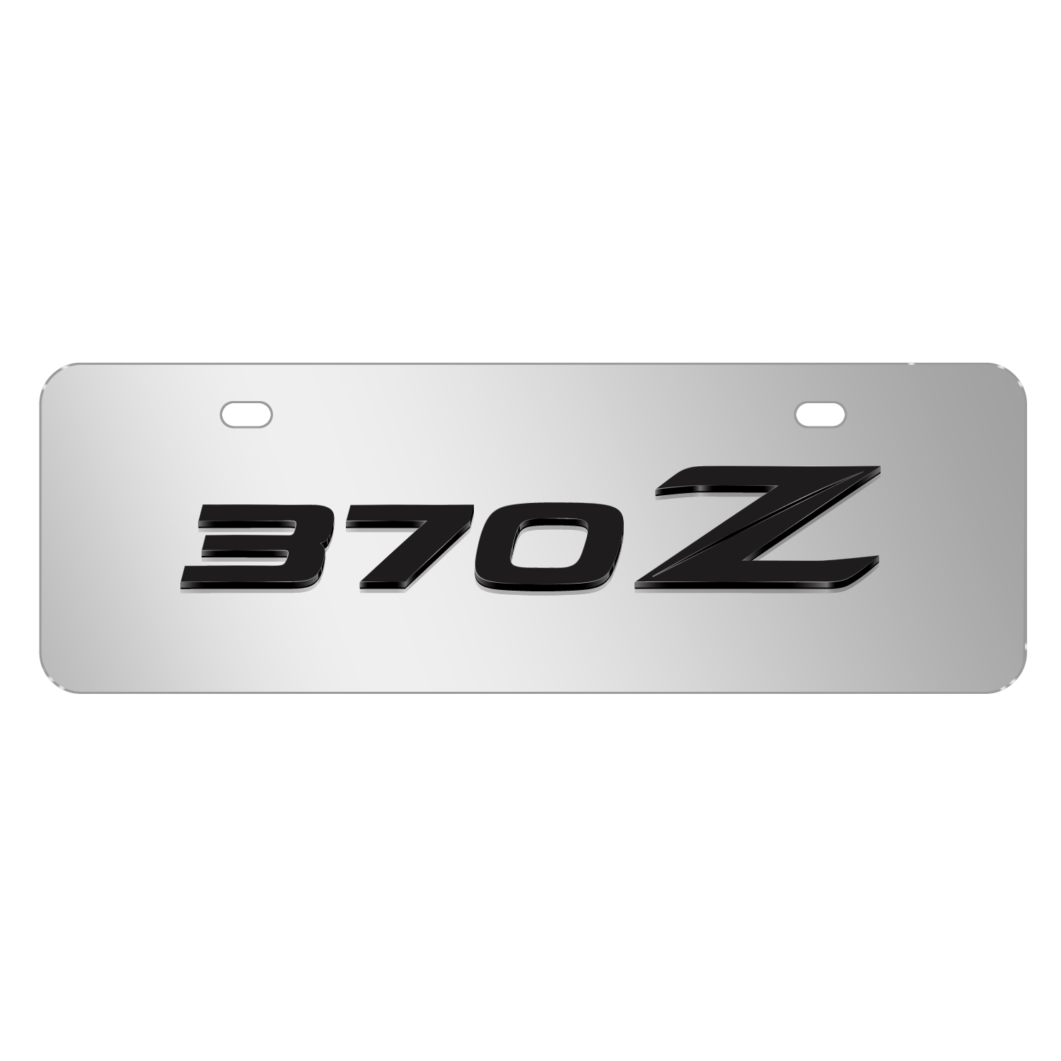"""Nissan 370Z 3D Mirror Chrome 12""""x4"""" Half-Size Stainless Steel License Plate"""