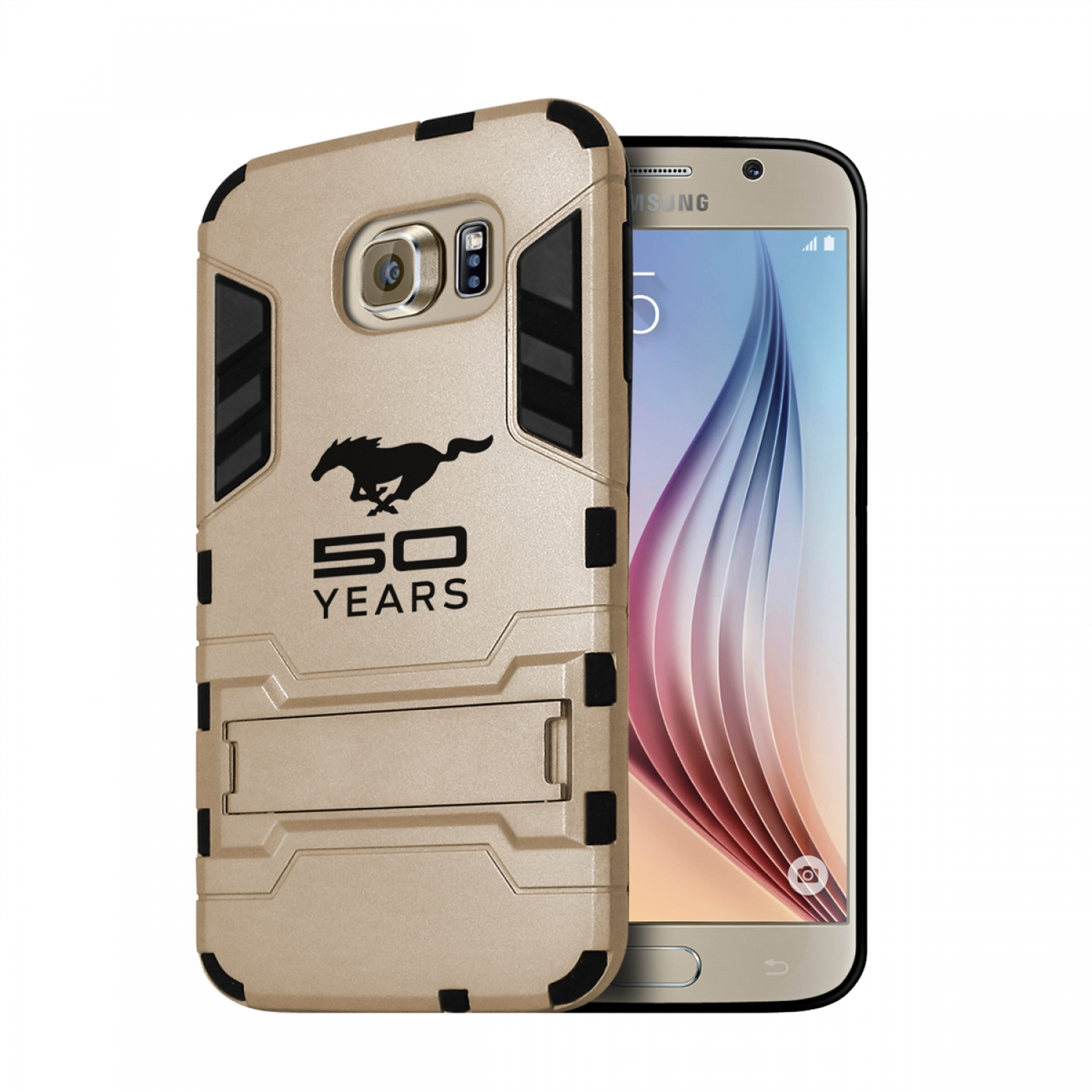 Ford Mustang 50 Years Samsung Galaxy S6 Shockproof TPU ABS Hybrid Golden Phone Case