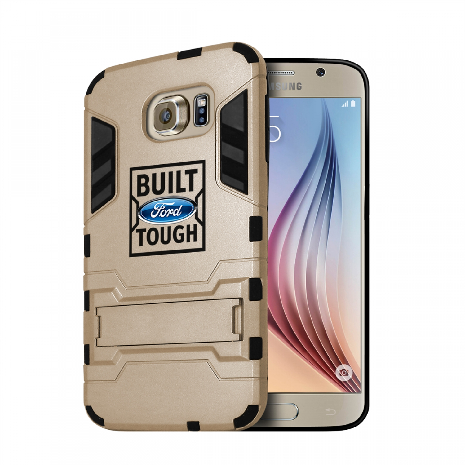 Ford Built Ford Tough Samsung Galaxy S6 Shockproof TPU ABS Hybrid Golden Phone Case