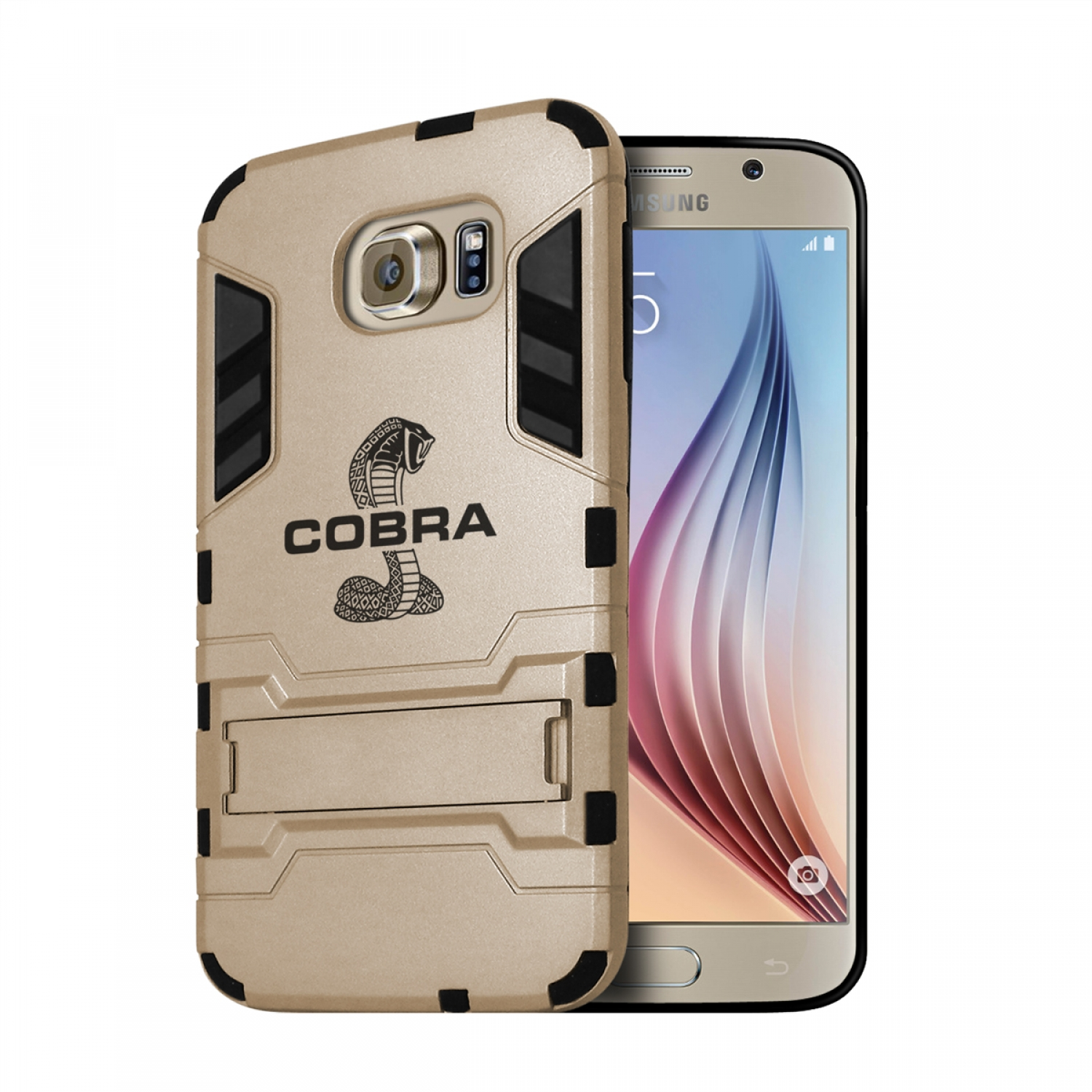 Ford Mustang Cobra Samsung Galaxy S6 Shockproof TPU ABS Hybrid Golden Phone Case