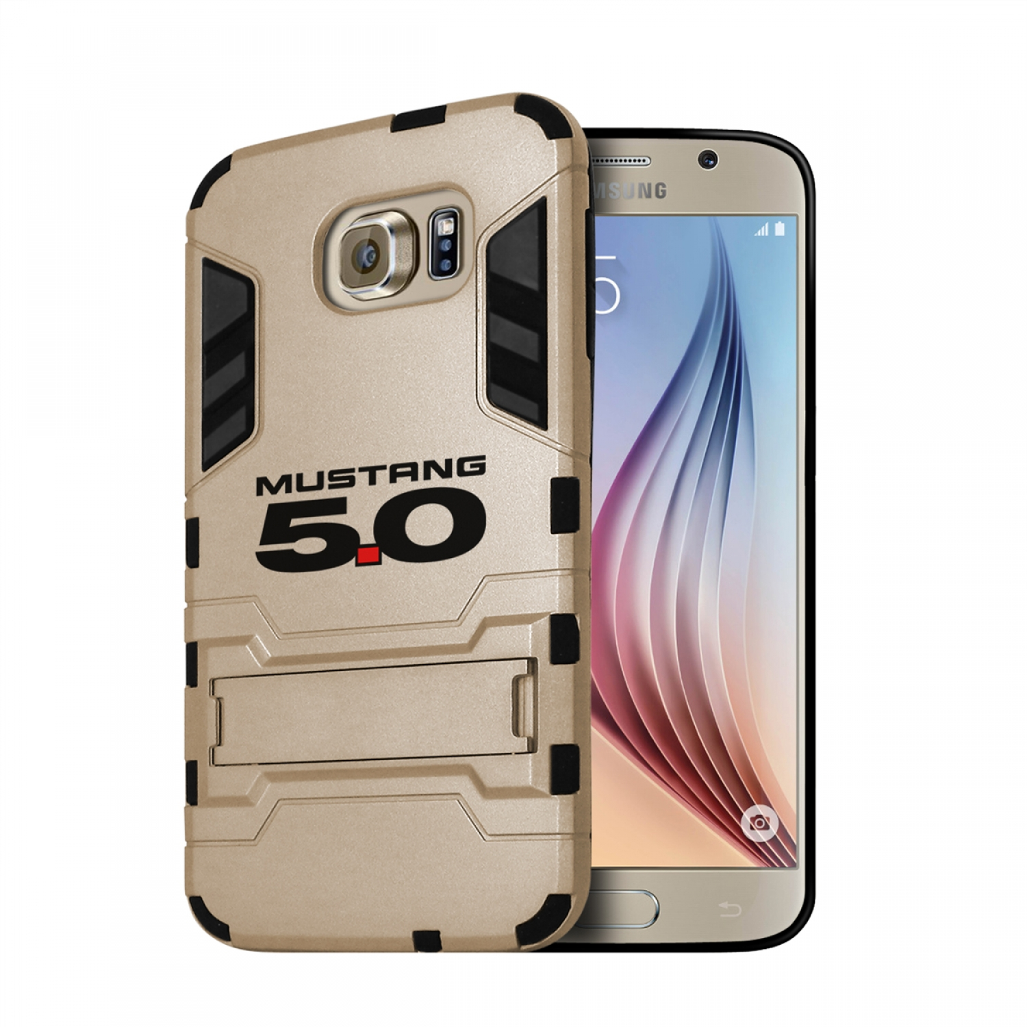 Ford Mustang 5.0 Samsung Galaxy S6 Shockproof TPU ABS Hybrid Golden Phone Case