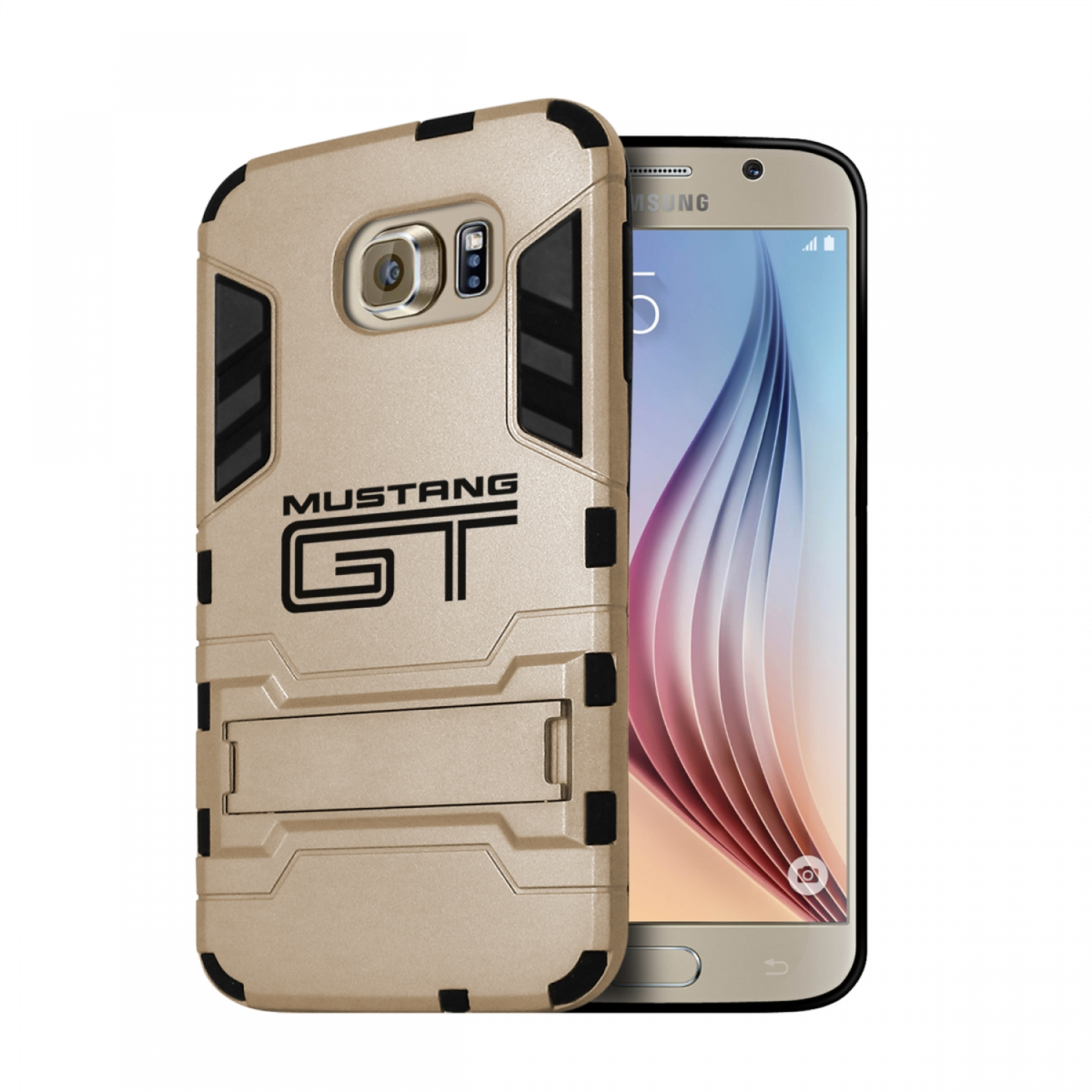 Ford Mustang GT Samsung Galaxy S6 Shockproof TPU ABS Hybrid Golden Phone Case