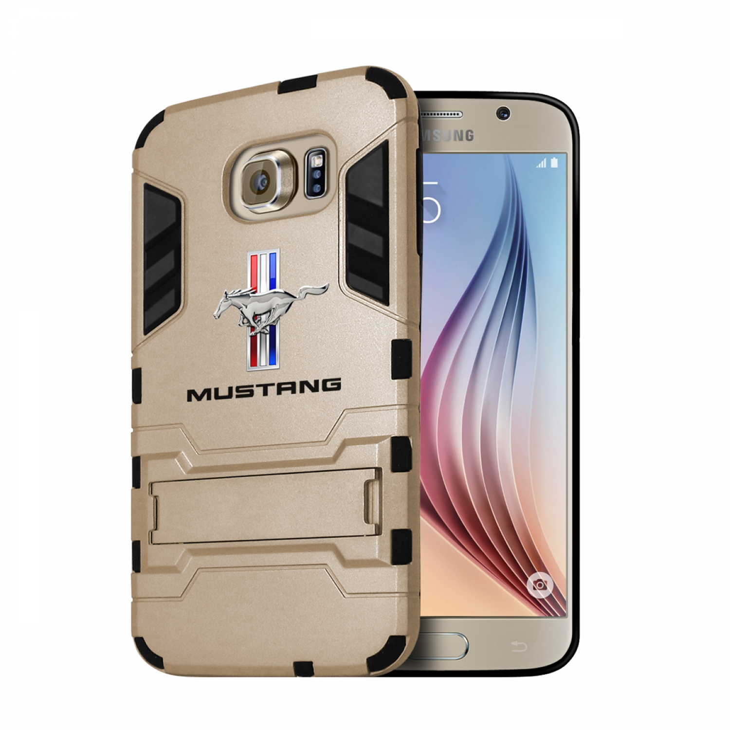 Ford Mustang Tri-Bar Samsung Galaxy S6 Shockproof TPU ABS Hybrid Golden Phone Case