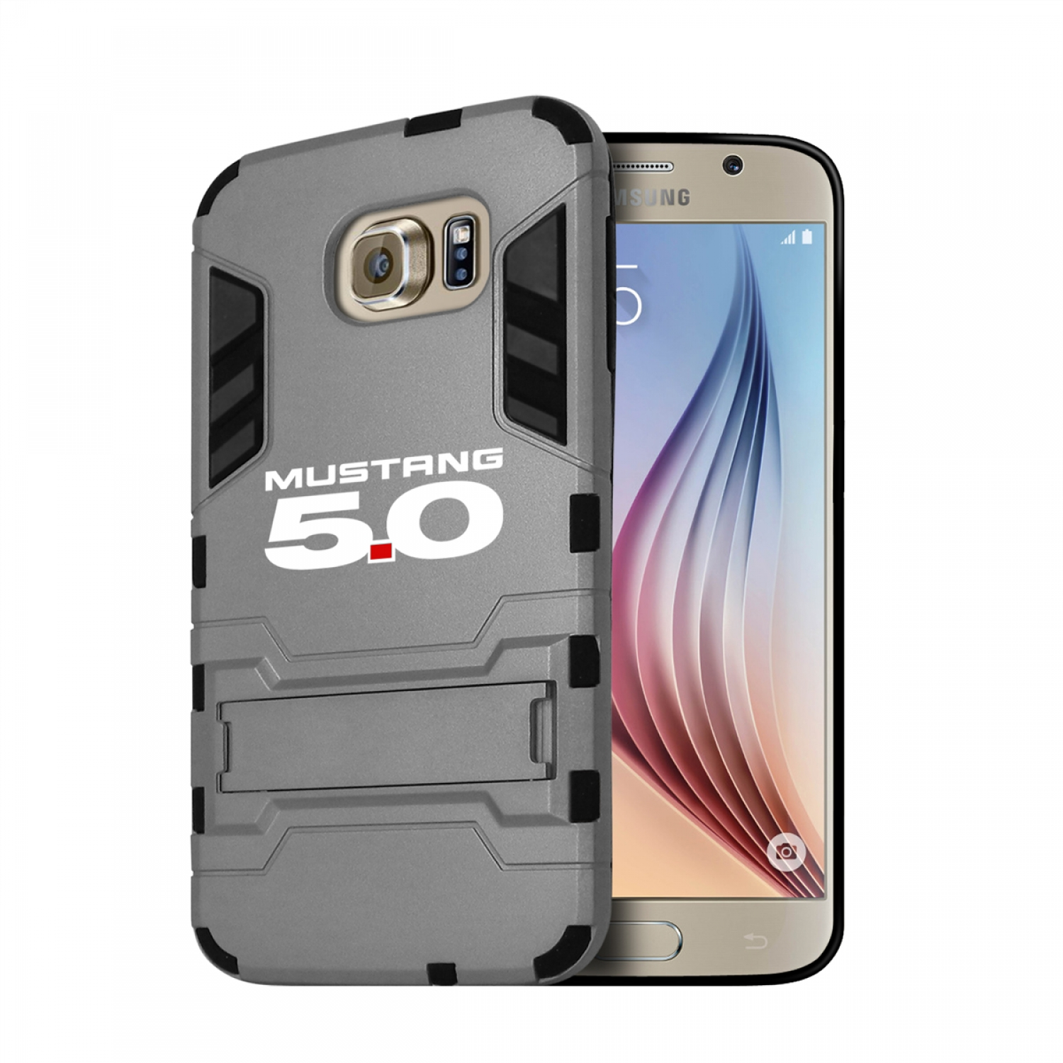 Ford Mustang 5.0 Samsung Galaxy S6 Shockproof TPU ABS Hybrid Gray Phone Case